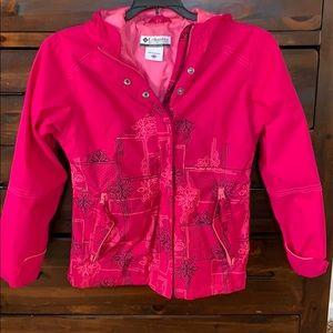 Girl's pink Columbia rain jacket. Size 10/12 youth